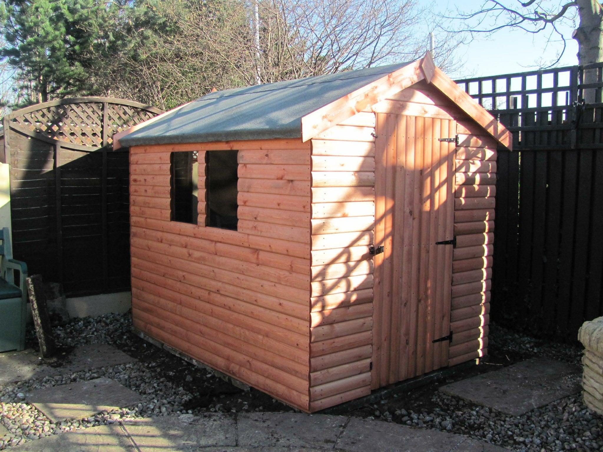 Log effect buildings apex pent no1 discount shedsno1 for Apex garden sheds